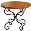 Pictured here is the Alexander End Table with classic black wrought iron base and a 30inch diameter copper top top.