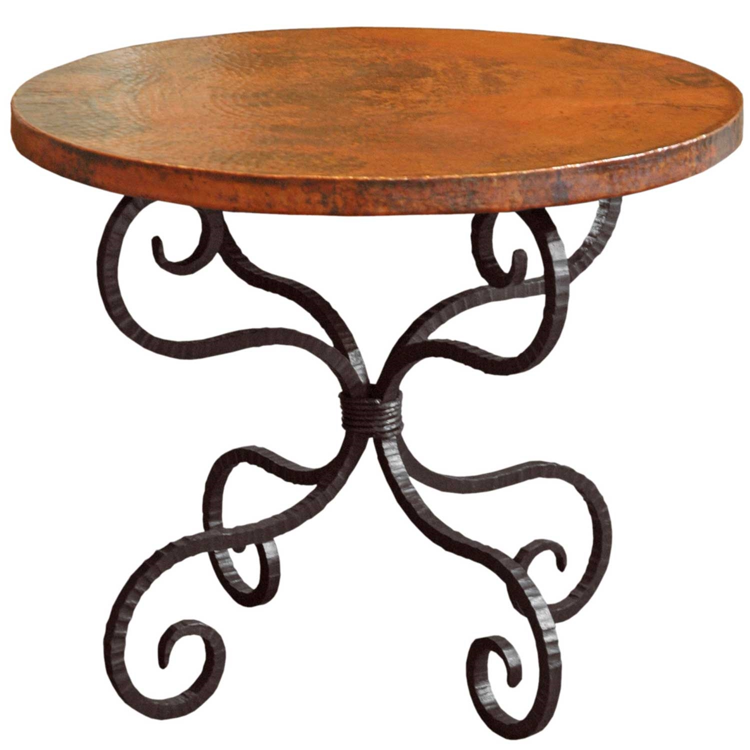 Table With Clic Black Wrought Iron Base And A 30inch Larger Photo