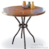 "Pictured here is the Woodland Bistro Table with 36"" Round Top hand crafted by skilled artisan blacksmiths."
