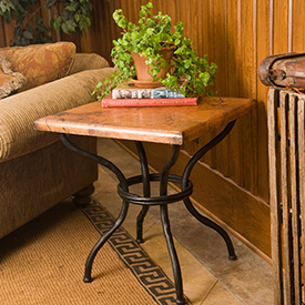 Pictured here is the Woodland End Table with Top hand crafted by skilled artisan blacksmiths.