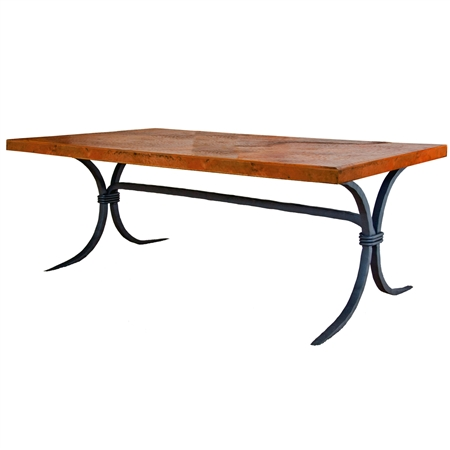 "Pictured here is the Salisbury Cocktail Table with 50"" x 30"" Top hand crafted by skilled artisan blacksmiths."