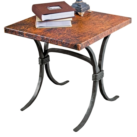 "Pictured here is the Salisbury End Table with 24"" Square Top hand crafted by skilled artisan blacksmiths."