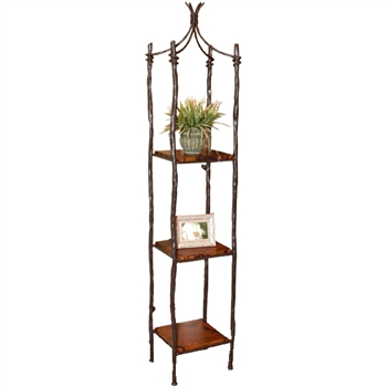 Pictured is our Rustic style South Fork Single Iron Etagere hand-made by Mathews & Co.