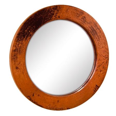 Pictured here is the 30 Inch Round Copper Mirror from Mathews and Company