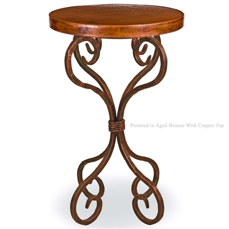 Pictured here is the Alexander Wrought Iron Accent Table with 18-in. Round Copper Top hand crafted by skilled artisan blacksmiths.