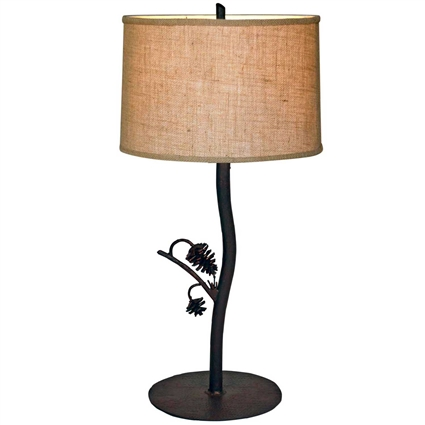 Pictured is our Rustic style wrought iron Piney Woods Table Lamp hand-made by Mathews & Co.