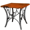 "Pictured here is the Piney Woods End Table with 24"" Square Top hand crafted by skilled artisan blacksmiths."