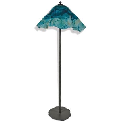 Pictured is our Contemporary style wrought iron Preston Floor Lamp with Glass Shade hand-made by Mathews & Co.