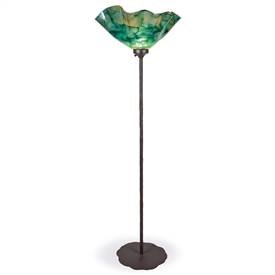 Pictured is our Contemporary style wrought iron Preston Torchiere Floor Lamp with Glass Shade hand-made by Mathews & Co.