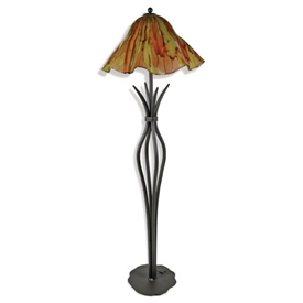 Pictured is our Traditional/Contemporary style wrought iron Milan Floor Lamp with Glass Shade hand-made by Mathews & Co.