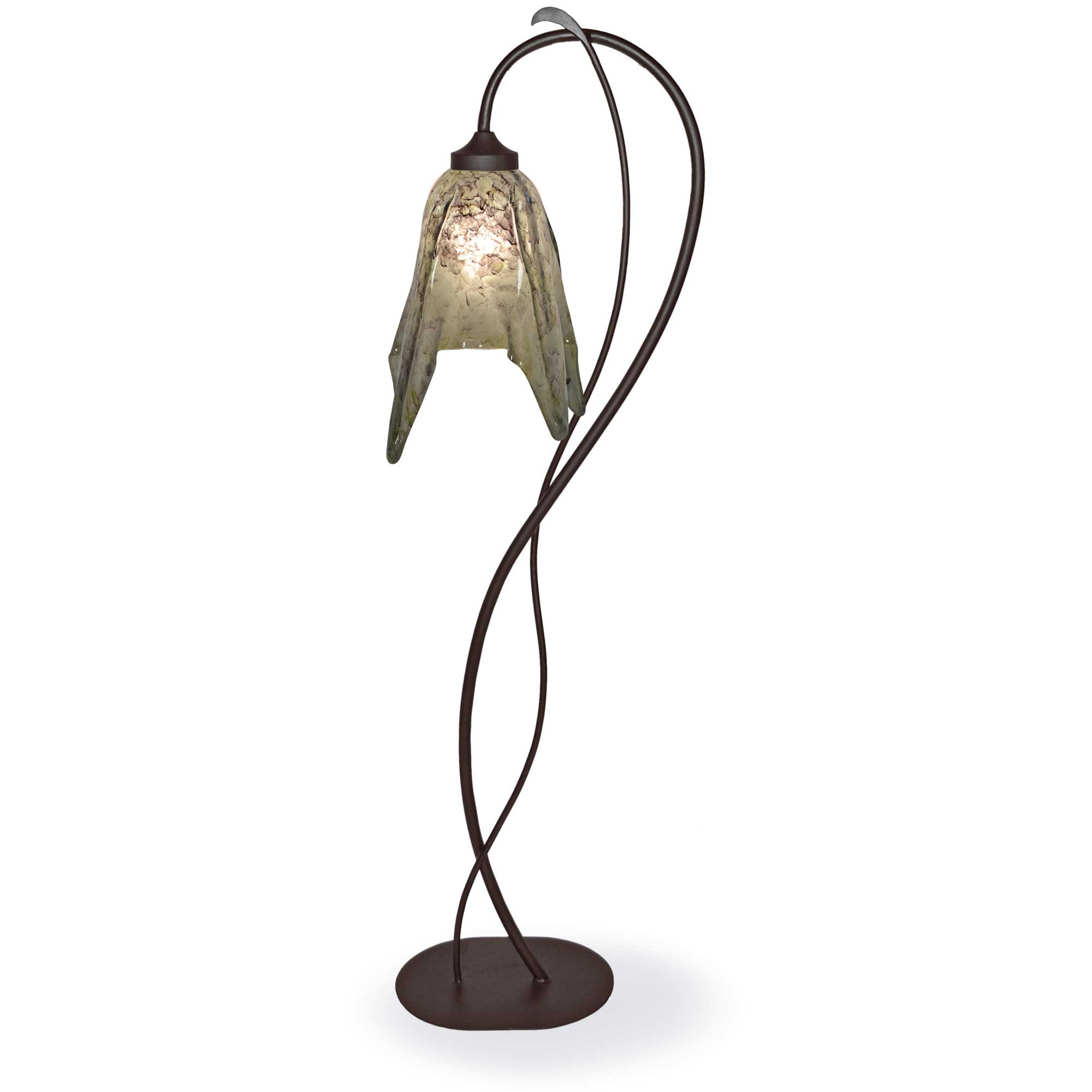 Pictured is our Contemporary style wrought iron Wild Vine Floor Lamp with  Glass Shade hand-
