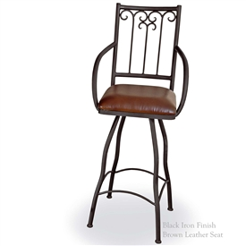 "Pictured is our Milan 25"" Swivel Counter Stool with Arms, hand-forged by artisan blacksmiths."