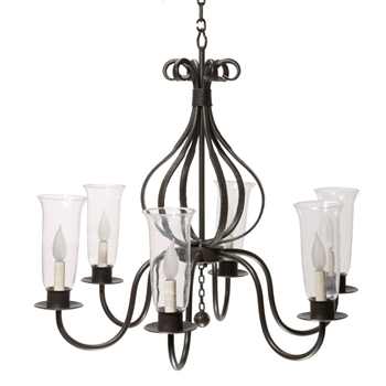 Pictured here is the wrought Iron Williamsburg Carriage 6-Arm Chandelier hand-forged by Stone County Ironworks, sold online at Timeless Wrought Iron