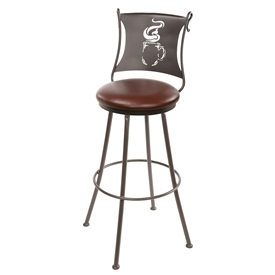 Pictured here is the Latte Counter Stool that has a 25-in seat height and is available in a variety of iron finishes and seat upholstery options to choose from. You may also choose to add the swivel option.