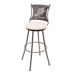 Pictured here is the Rosemary Wrought Iron Counter Stool with 25-inch seat height.