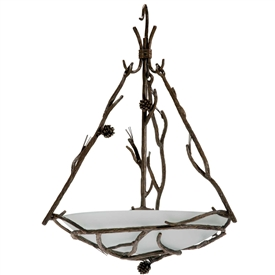 Pictured is our rustic Pine Globe Chandelier with hand-forged wrought iron details and frosted glass shade.