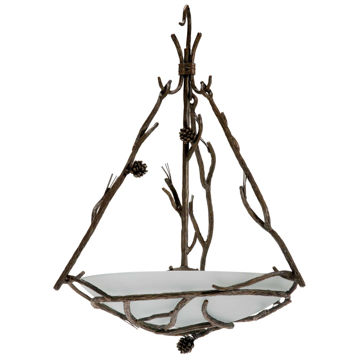 Rustic Pine Wrought Iron Globe Chandelier