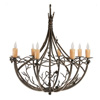 Pine Chandelier 8-Arm w/ Drip Candle Cover