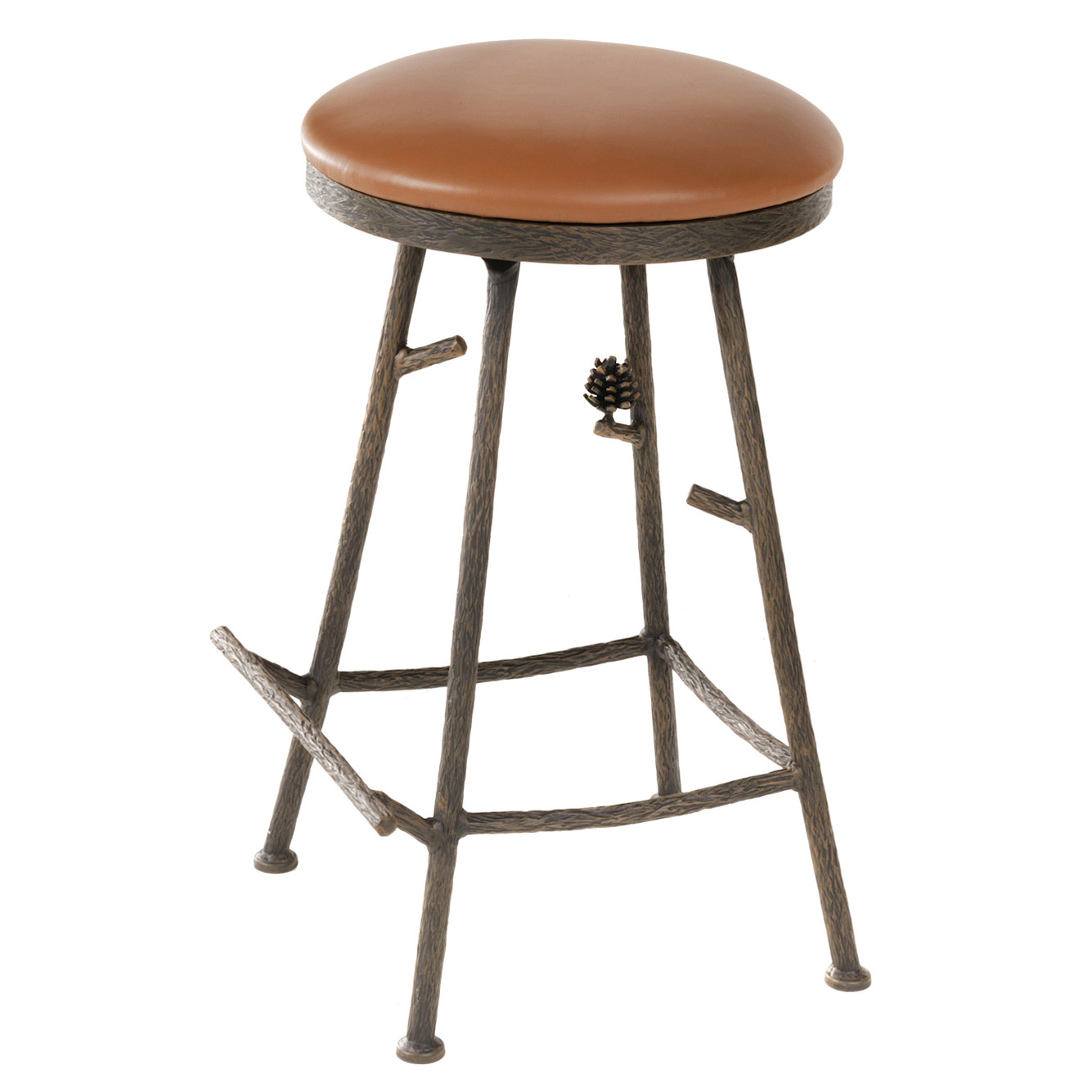 Wrought Iron Barstool Backless Rustic Pine Bar Stool Swivel Option