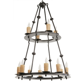 Nova 12 Light Two-Tier Chandelier w/ Candle Drip Cover
