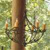 Pine Chandelier 6-Arm w/ Candle Drip Cover