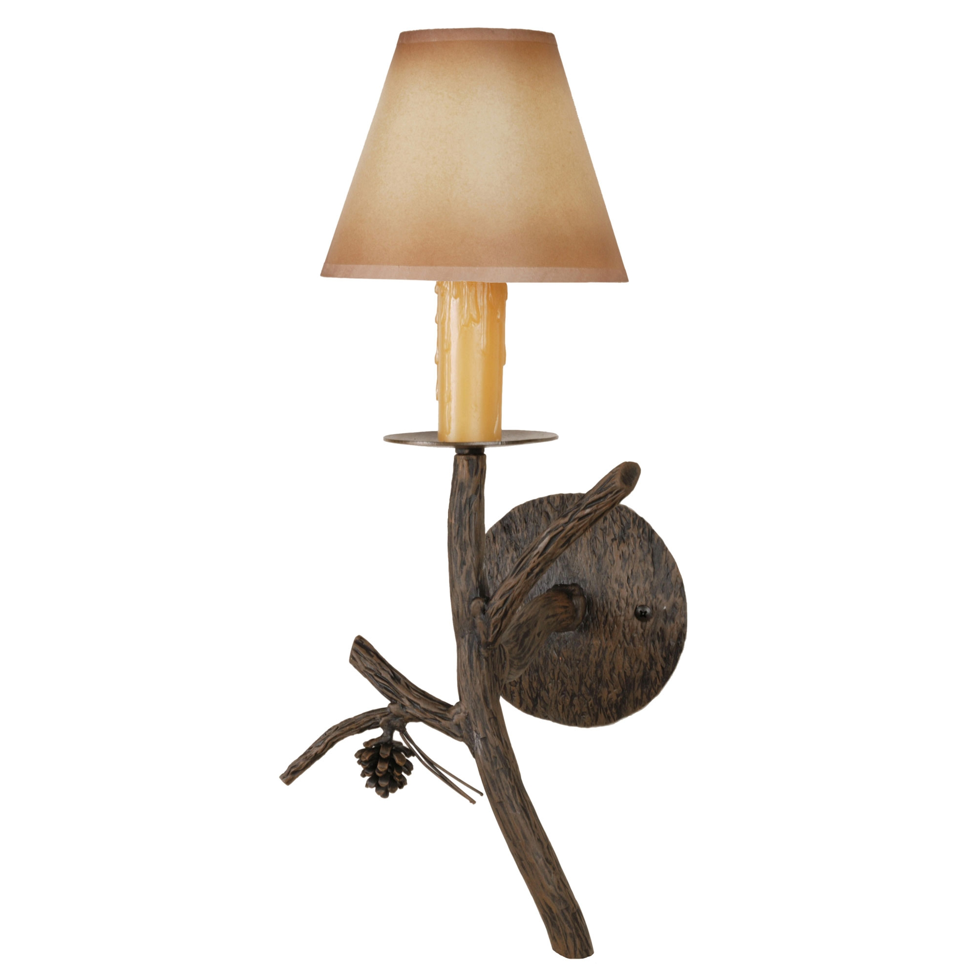 Candle Drips Wall Lights : Wrought Iron Pine Collection Candle Wall Sconce w/ Candle Drip Cover