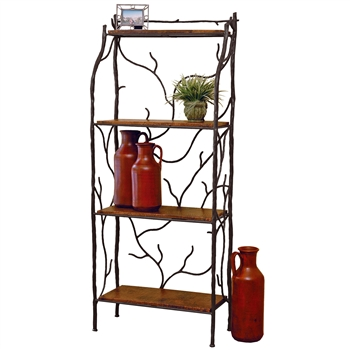 Pictured is our Rustic style South Fork Iron Backer's Rack hand-made by Mathews & Co.