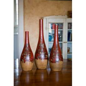 Pictured here is the Set of 3 Ceramic Round Bottom Vases  from Mathews and Company