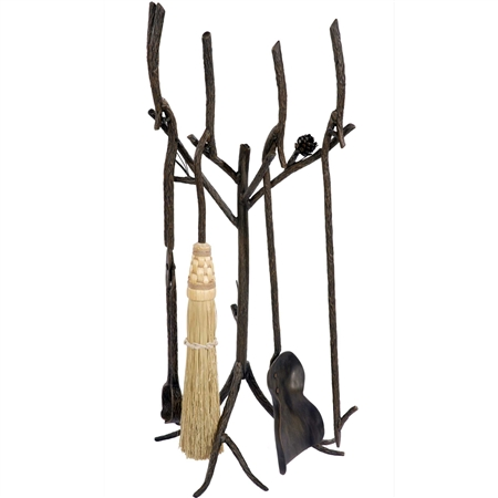 Pictured here is the handcrafted Pine Fireplace Tool Set that features rustic texture and detailed pine cone that resembles a pine tree branch. Set includes Fireplace Tool Stand, Broom, Shovel, Fire-Poker, and a Log-Tongs.