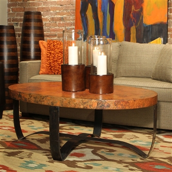 Oval Strap Cocktail Table in Fire Finish with Hammered Copper Top