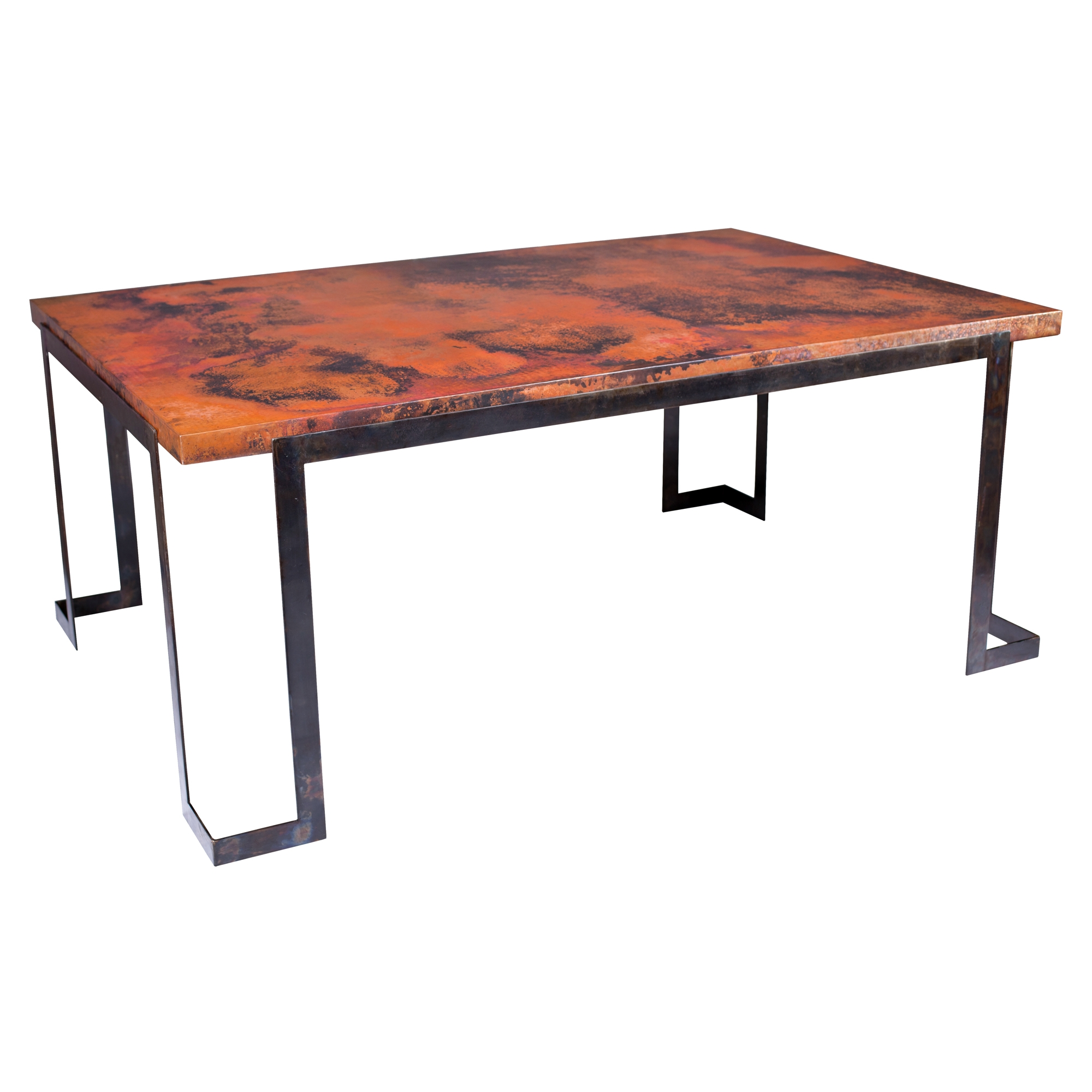 Copper Top Rectangular Coffee Table: Steel Strap Rectangle Dining Table With Hammered Copper Top