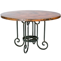Curled Leg Round Dining Table with 48 inch Copper Top