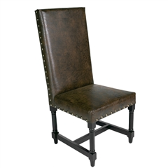 High Back Leather Chair with Nail Heads