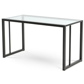 Pictured here is the Park West Desk with Charcoal iron finish and glass top from Charleston Forge.