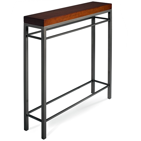 Pictured is the Charleston Forge manufactured 34-in Newhart Console Table that measures 34-in x 8-in x 40.75-in with custom iron finishes and table top options to choose from.