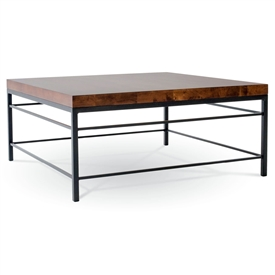 Pictured is the Newhart Square Cocktail Table which measures 42-in by 42-in by 21.25-in with custom iron finishes and table top options to choose from.