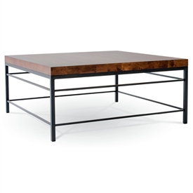 Pictured is our 54-inch square transitional Style Newhart cocktail table with clean iron lines and thick wood slab table top.