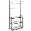 Pictured here is the Wentworth Bakers Rack in gunmetal finish, with glass shelves and work surface.