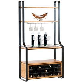 Pictured here is the Kenley Wine Edition Bakers Rack in charcoal finish, with maple shelves and 24 bottle wine storage in our honeysuckle wood finish.