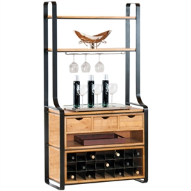 Pictured here is the Deluxe Kenley Bakers Rack in charcoal finish, with maple shelves, 24 bottle wine storage, and cabinet in our honeysuckle wood finish.