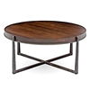 Pictured is the Cooper Round Cocktail Table which measures 44-in dia.and stands 21.25-in high. Available in several custom iron finish and table top options.
