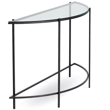 Pictured is the Charleston Forge manufactured Oculus Console Table that measures 45-in x 14.5-in x 30-in with custom iron finishes and table top options to choose from.