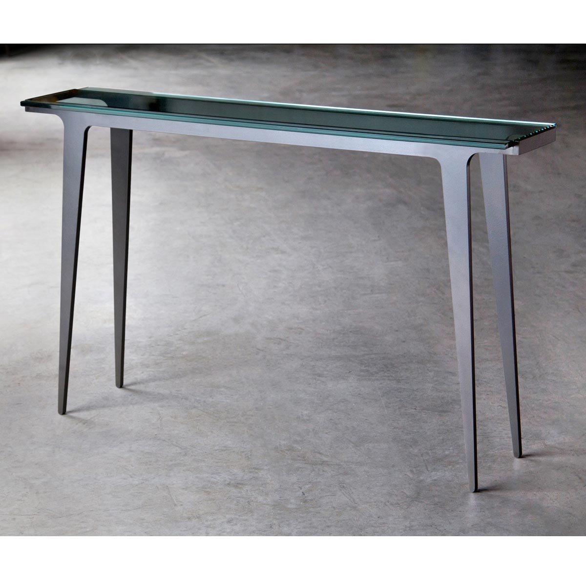 Madison 52 in glass top console table iron table base for 52 glass table top