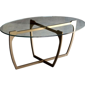 Pictured is the Fontana Cocktail Table which measures 26-in by 42-in by 16.88-in with custom iron finishes and table top options to choose from.