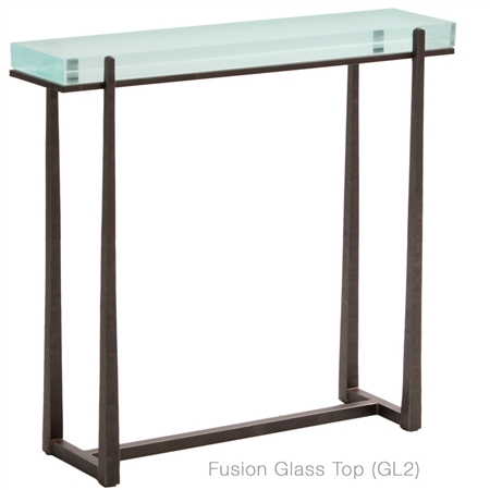 Pictured is the Charleston Forge manufactured Cooper 34-in Iron Console Table that measures 34-in x 10-in x 34.25-in with custom iron finishes and table top options to choose from.