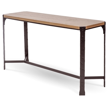 Pictured here is the Woodland Console Table with a textured black finish on the iron base and a drift wood oak top.