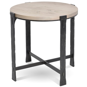 Pictured here is the Woodland Round End Table with a Burnished Iron finish on the table base and a drift wood oak top.