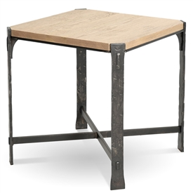 Pictured here is the Woodland Square End Table with a Burnished Iron finish on the table base and a drift wood oak top.