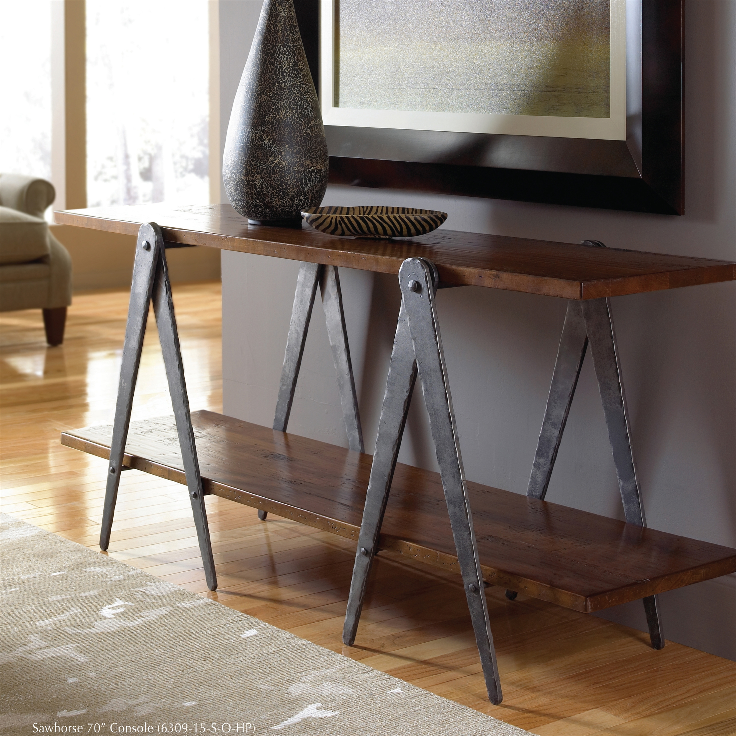 Pictured Is The Charleston Forge Manufactured Sawhorse 70 In Industrial  Console Table That Measures 70