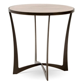 Pictured here is the forged iron Lotus End Table available in numerous fine iron finishes and table tops to choose from.